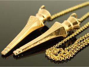 14 karaat gouden collier met breipenhouder.