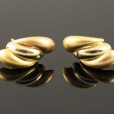 14 karaat gouden tricolor oorknopjes.