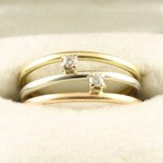 14 karaat gouden ring tricolor met briljant.