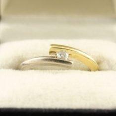 14 karaat gouden bicolor ring met briljant.
