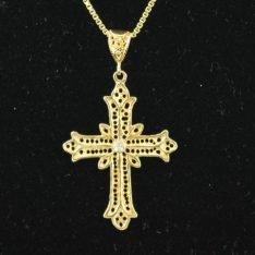 14 karaat gouden kruis met briljant.