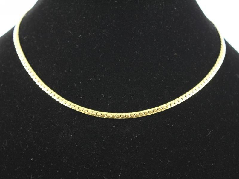 14 karaat gouden collier met platte schakel.