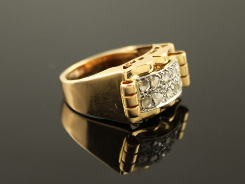 18 karaat gouden bicolor ring met met diamant.